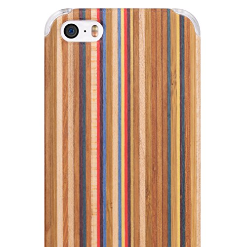 iCASEIT iPhone SE / 5S / 5 Wood Case – Handmade Premium Quality Genuinely Natural  Unique – Strong  Stylish Snap on Back Bumper – Non-Slip, Precise …