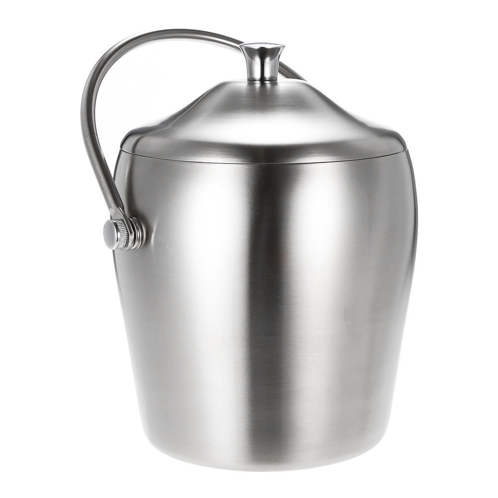 Decdeal 1L High-end Thicken Double-Walled Ice Bucket Stainless Steel Ice Bucket with Lid and Portable Handle