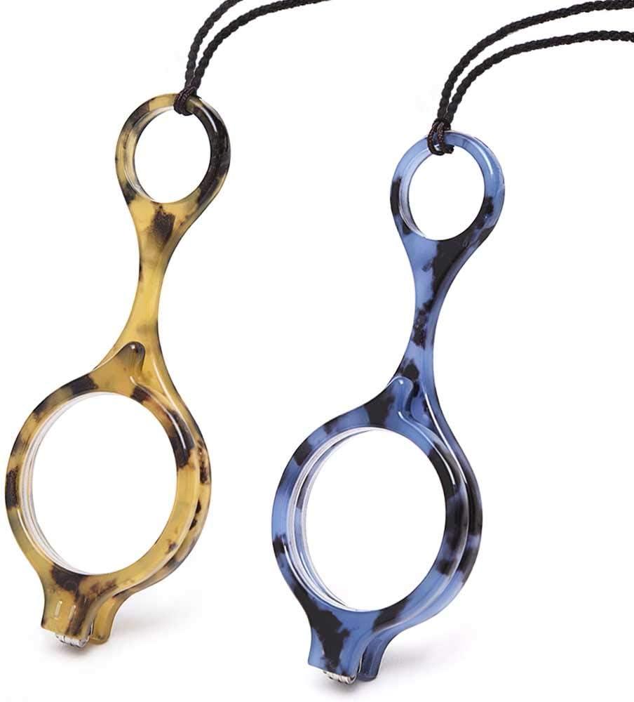 TERAISE Mini Gafas de lectura plegables Colgante Lectores de collar Lentes de lectura portátiles anti-pérdida livianas con estuche exquisito para mujeres y hombres(+2.0X)