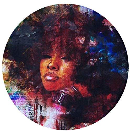- Zeajant Round Area Rug Non-Slip African Black Women with Purple Hair Entrance Rug Floor Mat Door Mat Rug Indoor/Outdoor/Front Door/Bedroom Mats