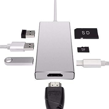 YTBLF Concentrador Tipo 7 en 1, convertidor de Tarjeta HDMI ...