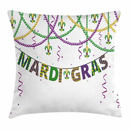 Mardi Gras Throw Pillow Cushion Cover by Ambesonne, Festive Decorations with Fleur De Lis Icons Hanging From Colorful Beads, Decorative Square Accent Pillow Case, 18 X 18 Inches, Purple Green (Mardi Gra Decoration Ideas)