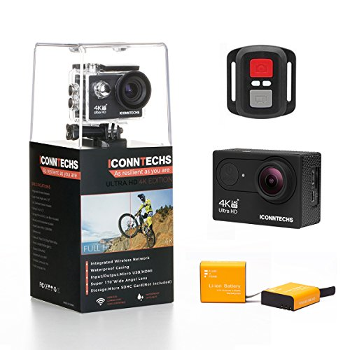 ICONNTECHS IT Action Camera 4k Waterproof Sports Action Cam for Scuba Diving wifi 170 Degree Wide Viewing Angle 60fps 12MP HD Helmet Cameras Underwater Camcorder (Black+Remote) by ICONNTECHS IT