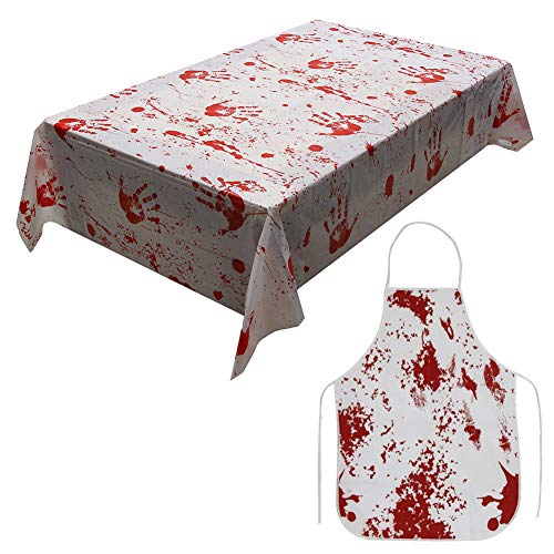 STEVE YIWU Halloween Tablecloth Bloody Apron, Halloween Party Decorations Blood Splatter Tablecover Apron Set