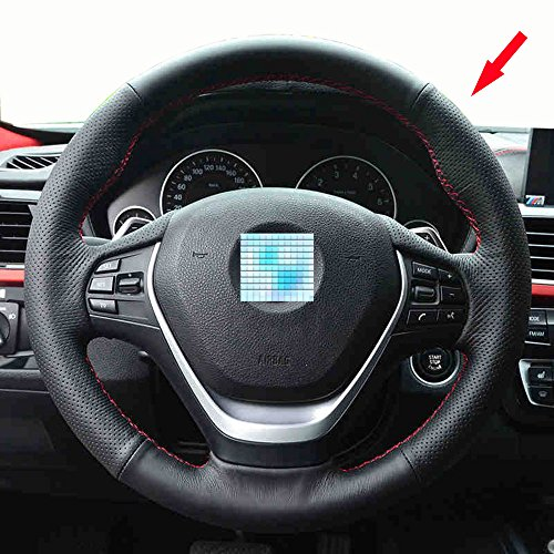 Eiseng Genuine Diy Black Leather Steering Wheel Cover Stitch On Wrap
