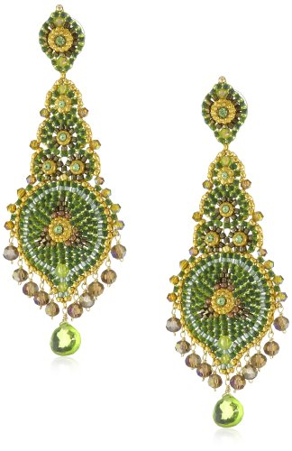 Miguel Ases Long Lotus with Peridot Quartz Drop Earrings by Miguel Ases