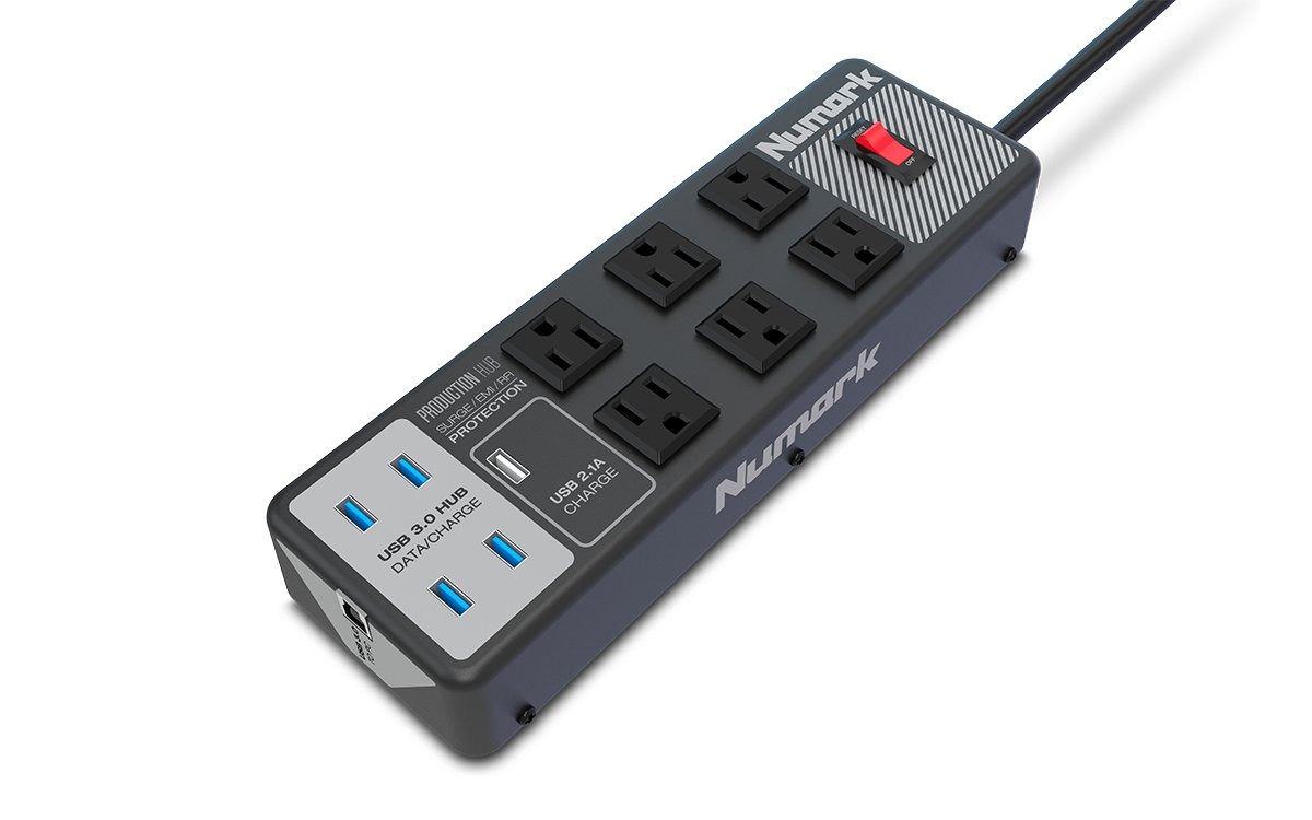 Numark Production Hub Data Transfer & Surge-Protection Power Strip with 6 AC Outs & 5 USB Ports inMusic Brands Inc.