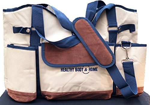 Wine Carrier Tote Bag, Canvas - Pockets for Two Bottles   Durable Shoulder Strap, Handles, and Snap Closure   Doubles as a Beach Bag