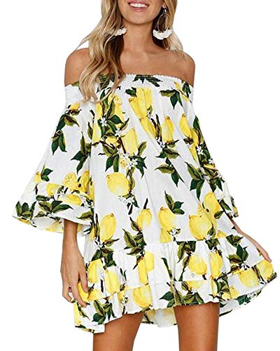 Gemijack Beach Dresses for Women Off Shoulder Flare Lemon Dress with 3/4 Bell Sleeves