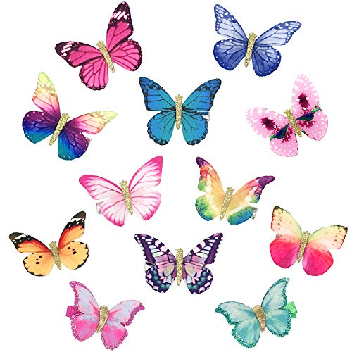 Elesa Miracle Baby Girl Hair Clips Butterfly Hair Clips Toddlers Infants Kids Hair Butterfly Snap Clips Barrettes (12pc- Colorful Butterfly) -