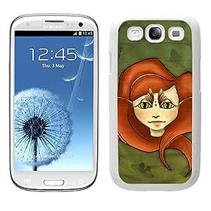 Funda carcasa para Samsung Galaxy S3 diseño hada peliroja con mariposas borde blanco