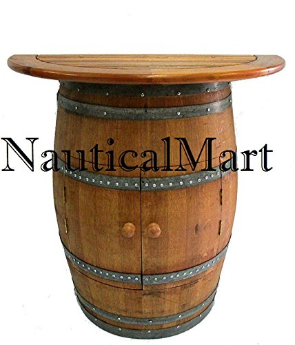 NAUTICALMART Cabinet Style Wine Barrel Console Table with Teak Wood Table Top - Table Wood Console Teak