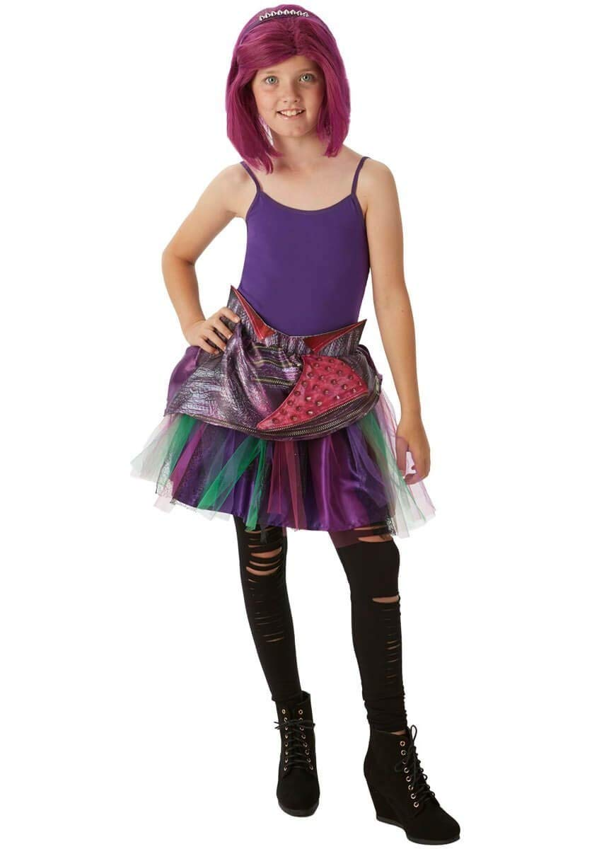 Disney Mal Descendants Girls Tutu Child Halloween Fancy Dress Kids Movie Outfit (7-9 years) Rubies