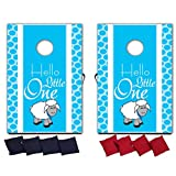 VictoryStore Cornhole Games - Boy Baby Shower Cornhole Game - Hello Little One Toss Game - 8 Bags Included - Wooden Boards