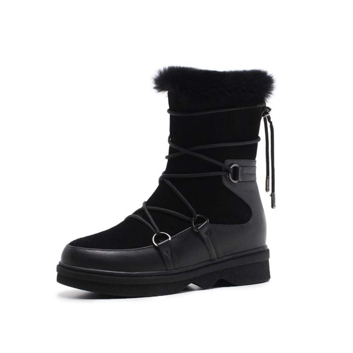 DANDANJIE Damen Schnee Stiefel Keilabsatz Mode Stiefeletten mit Schnürung Schwarz Braun für 2018 Winter