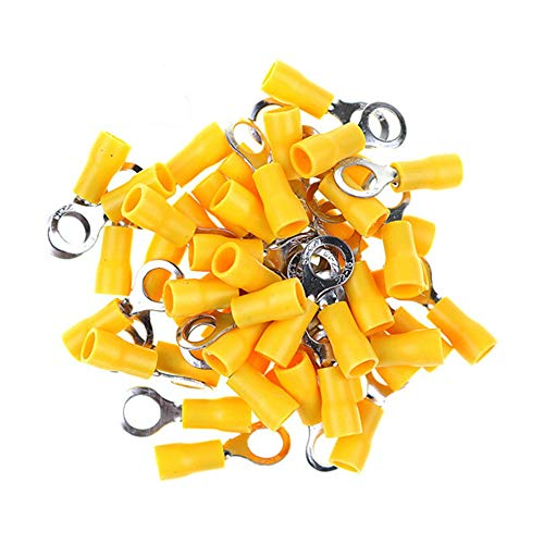GFORTUN 100PCS Yellow Insulated Ring Terminal Electrical Wire Crimp Connectors Stud Size 3/8 for Cable 12-10 AWG (RV5.5-10)