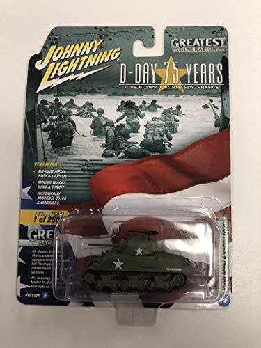 (Johnny Lightning JL Greatest Generation D-Day 75 Years Ver A WWII M4A3 Sherman Tank)