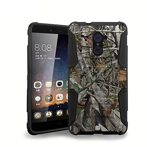 ZTE Grand X Max 2 (Cricket) - Premium Heavy Duty [Impact Resistant] Rugged Armor Belt Clip Holster Kickstand Case [Real Tree Camo] and Atom LED