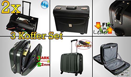 3tlg. Set / Pilotentasche / Hardcase Reisekoffer MASSIV silber standfest mit Rollen wetterfester Koffer Pilotenkoffer, 2x Reisetasche Handgepäck Lederimitat schwarz, tolle Einteilung, stabile Tasche