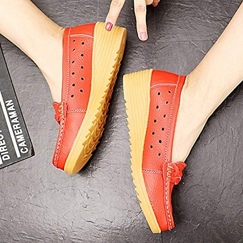 Mujer Con Sin Gruesa Kurphy La Suela Transpirable Calzado Ultraligeros Madre Para Flecos Antideslizante Planos Cordones Zapatos 1qanpYU
