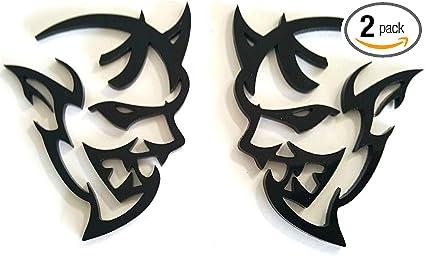 2x Red 3D Demon Metal Emblem Badge Sticker For Dodge Challenger SRT Hellcat