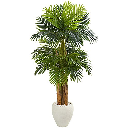 (Nearly Natural 5683 5.5' Triple Areca Palm Tree in White Planter Artificial Plant,)