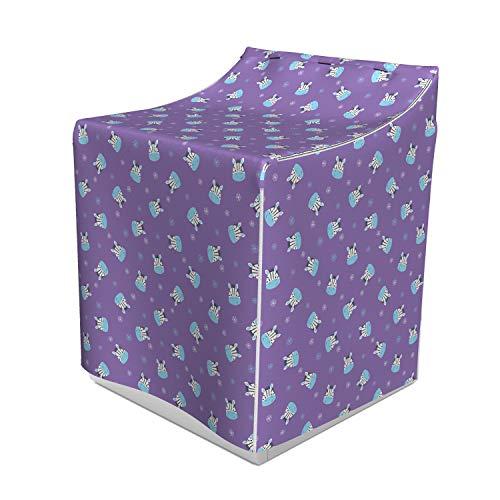 (Lunarable Safari Washer Cover, Doodled Flowers and Smiling Baby Zebra Head Random Arrangement, Waterproof Dustproof Decorative Fabric, 29