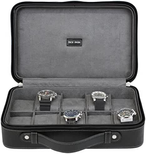 Tech Swiss 10 Watch Case Compact Travel Briefcase Design Black Leather Large Compartments Zipper