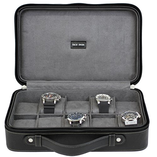 Watch Case For 10 Travel Briefcase Design Leather Large Compartments Zipper (Black) - Swiss Design Watch