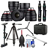 Rokinon Xeen 14mm T/3.1, 24mm, 35mm, 50mm, 85mm T/1.5 Pro Cine Lens Bundle (for Video DSLR Cinema Canon EF Cameras) with Waterproof Hard Case + Camera Slider + Stabilizer + Tripod + Dolly Kit