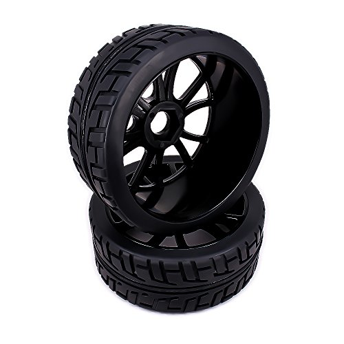 RCAWD Wheel Rim Tire Complete 180043 12 Spoke for Rc Car 1/8 Buggy Off-Road On-Road Car HSP Traxxas HPI Kyosho 4Pcs(Black)(equal FBA service)