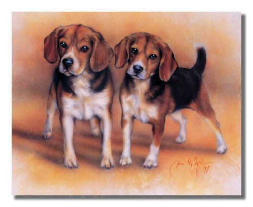 Used, Baby Beagle Puppy Dogs Hunting Animal Wall Picture for sale  Delivered anywhere in USA