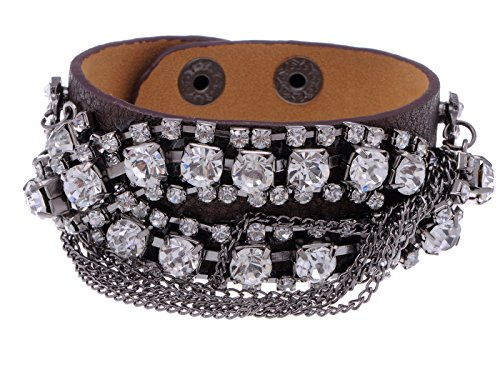 Alilang Rocker Faux Leather Rhinestone Studded Chain Button Snap Wrap Cuff Bracelet