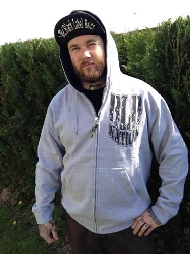 Schwarz Label Baits Zipper Hoodie Nation grau Gr.M