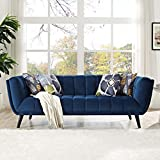 Modern Contemporary Urban Design Living Lounge Room Sofa, Navy Blue, Fabric