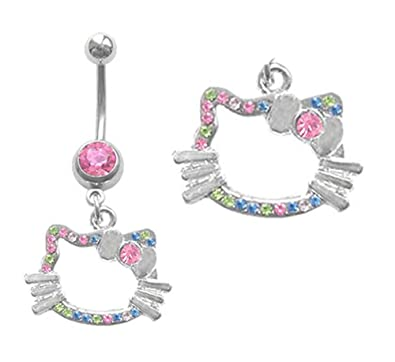 Playful Piercings Hello Kitty Head Dangle Belly Button Navel Ring 14g Available In Pink Clear Multi Color