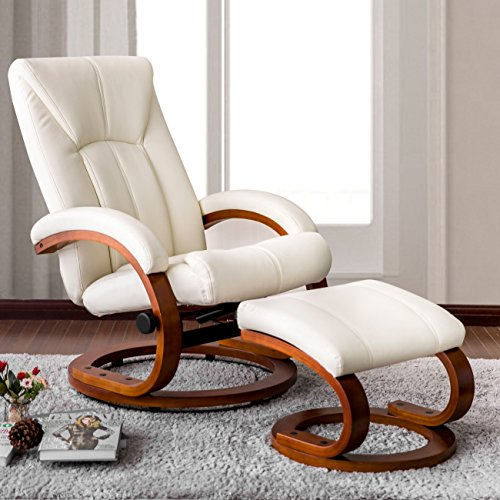 Leather Swivel Glider Recliner Full (Haper & Bright Designs Swivel Recliner and Ottoman Beige Leather Lounge Seat with Foot Stool and Wooden Base (Beige))