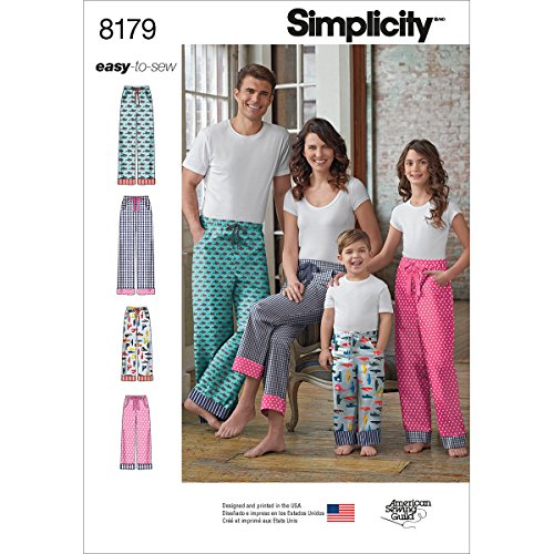 (Simplicity 8179 Easy-to-Sew Children, Teen and Adult Pajama Pants Sewing Pattern in Sizes A (XS-XL))