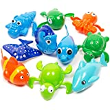Boley (10 Pack Wind Up Sea Animal Bath Toy - Manual Motorized Flipper Action, Adorable Sea Critter Toys for Babies and Toddlers, Bath Time Fun
