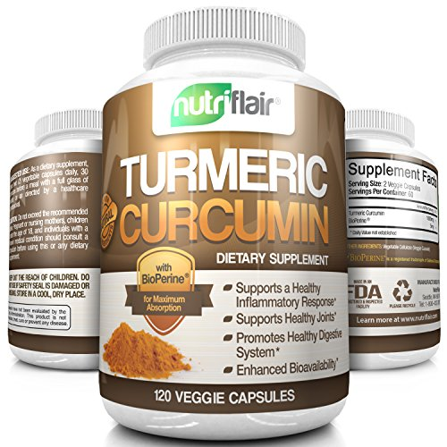 NutriFlair Turmeric Curcumin (120 CAPSULES) 1000MG per Serving, with BioPerine® (Black Pepper) - Anti-Inflammatory, Antioxidant | Ground Root Powder for Maximum Potency, No Side Effects, Non-GMO