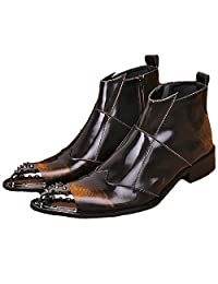 US Size 5-12 Fashion Brown Leather Mens Steel Toe Dress Zip Ankle Boots Shoes