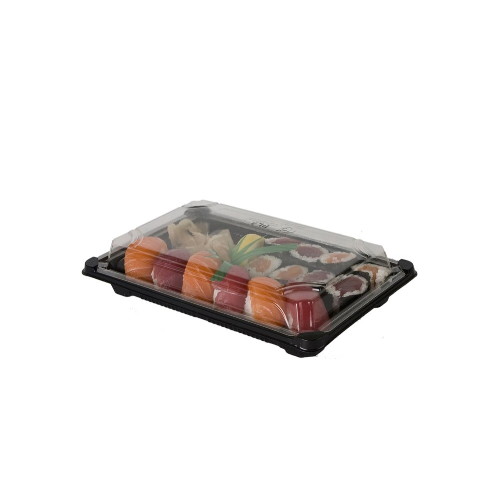 Eco-Products EP-SH3-CPK Plant-Based Plastic Premium Sushi Container with Lid, 9-Inch Length x 6-Inch Width x 1-3/4-Inch Height-6 Packs of 100