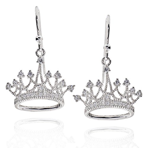 Sterling Silver Round Cubic Zirconia Crown Dangle Earrings