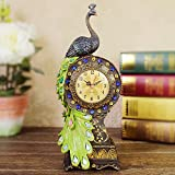 Cheap Resin Beautiful Peacock Figurine Pedestal Table Clock Perfect Home Decoration Gift