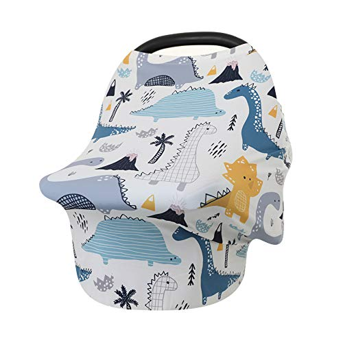 Multi-Use Breastfeeding Nursing Cover, Baby Carseat Canopy, Shopping Cart Covers (Dinosaur 004)