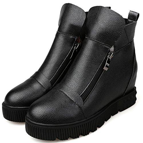 COOLCEPT Damen Gemutlich Plateau Height Increased Zip Stiefeletten Black