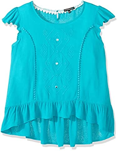 My Michelle Big Girls' Tee with High Low Ruffle Hemline, Turquoise, L - Turquoise Girls Shirt
