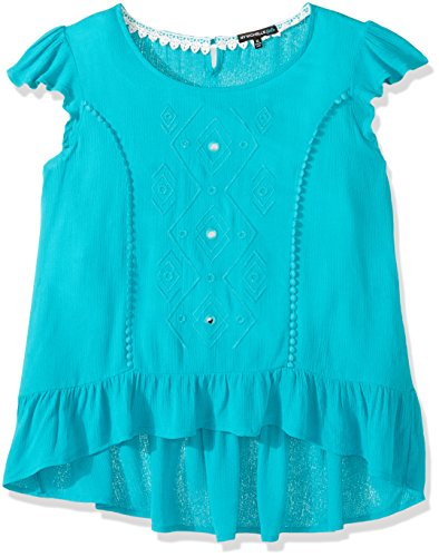 My Michelle Big Girls' Tee with High Low Ruffle Hemline, Turquoise, L (Michelle Clothes My)