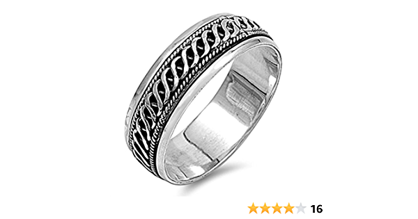 Vintage Sterling Silver Men/'s Spinner Ring Size 10 12 Silver Band with Spinning Center Braided Rope Design Wedding Band