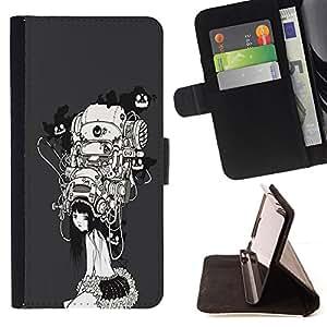 - Sci Fi Girl - - Prima caja de la PU billetera de cuero con ranuras para tarjetas, efectivo desmontable correa para l Funny HouseFOR HTC One M9